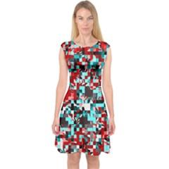 Pixelated 3 Capsleeve Midi Dress