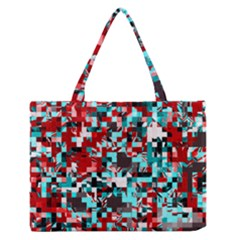 Pixelated 3 Medium Zipper Tote Bag