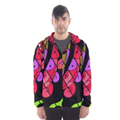 Elegant abstract decor Hooded Wind Breaker (Men)
