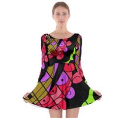 Elegant abstract decor Long Sleeve Skater Dress