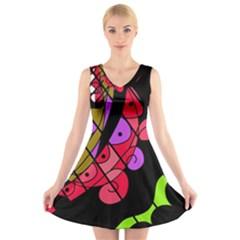 Elegant abstract decor V-Neck Sleeveless Skater Dress
