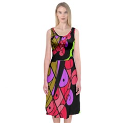 Elegant Abstract Decor Midi Sleeveless Dress