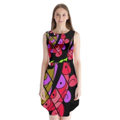 Elegant Abstract Decor Sleeveless Chiffon Dress