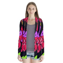 Elegant abstract decor Drape Collar Cardigan