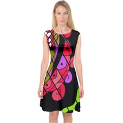 Elegant Abstract Decor Capsleeve Midi Dress