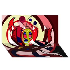 Octopus Twin Hearts 3D Greeting Card (8x4)