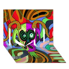 Colorful goat I Love You 3D Greeting Card (7x5)