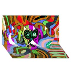 Colorful goat Twin Hearts 3D Greeting Card (8x4)