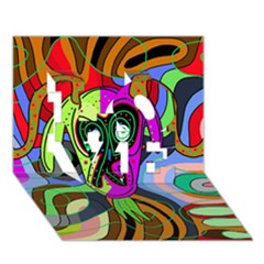 Colorful goat LOVE 3D Greeting Card (7x5)