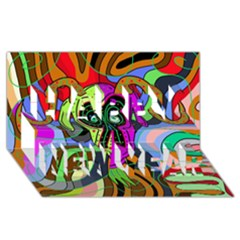 Colorful goat Happy New Year 3D Greeting Card (8x4)