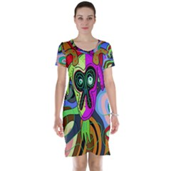 Colorful goat Short Sleeve Nightdress