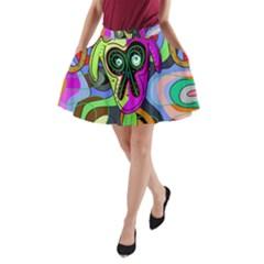 Colorful goat A-Line Pocket Skirt