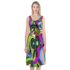 Colorful goat Midi Sleeveless Dress