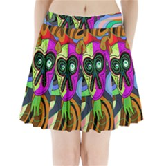 Colorful Goat Pleated Mini Skirt