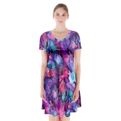 Glowing Abstract Short Sleeve V-neck Flare Dress