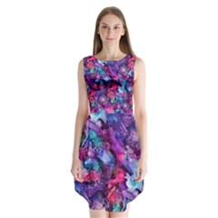 Glowing Abstract Sleeveless Chiffon Dress