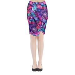 Glowing Abstract Midi Wrap Pencil Skirt