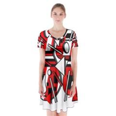 88 Short Sleeve V-neck Flare Dress