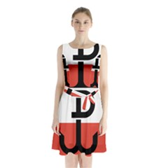 Flag Of The Polish Underground State, 1939 1945 Sleeveless Chiffon Waist Tie Dress