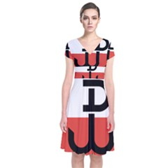 Flag Of The Polish Underground State, 1939 1945 Short Sleeve Front Wrap Dress
