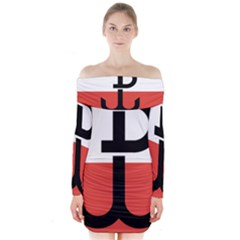 Flag Of The Polish Underground State, 1939 1945 Long Sleeve Off Shoulder Dress