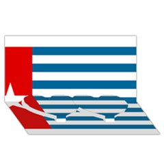 Flag Of Free Papua Movement  Twin Heart Bottom 3d Greeting Card (8x4)