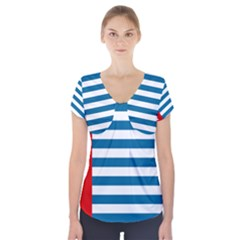 Flag of Free Papua Movement  Short Sleeve Front Detail Top