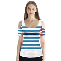 Flag Of Free Papua Movement  Butterfly Sleeve Cutout Tee