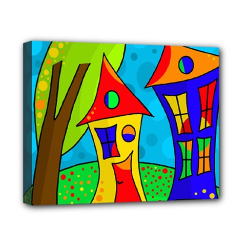 Two houses  Canvas 10  x 8