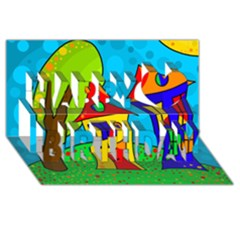 Two houses  Happy Birthday 3D Greeting Card (8x4)