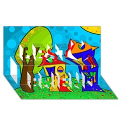 Two houses  Best Friends 3D Greeting Card (8x4)