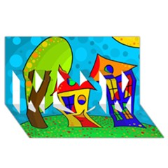 Two houses  MOM 3D Greeting Card (8x4)