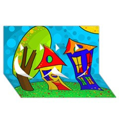 Two houses  Twin Hearts 3D Greeting Card (8x4)