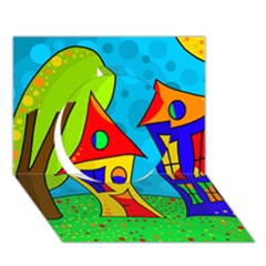 Two houses  Circle 3D Greeting Card (7x5)