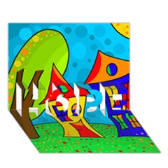 Two houses  HOPE 3D Greeting Card (7x5)