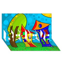Two houses  BELIEVE 3D Greeting Card (8x4)
