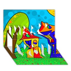 Two houses  Miss You 3D Greeting Card (7x5)