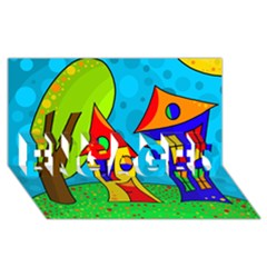 Two houses  ENGAGED 3D Greeting Card (8x4)