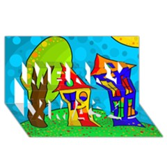 Two houses  Merry Xmas 3D Greeting Card (8x4)