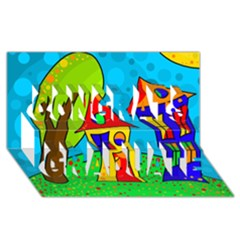 Two houses  Congrats Graduate 3D Greeting Card (8x4)
