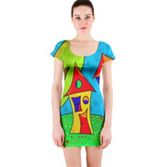 Two houses  Short Sleeve Bodycon Dress