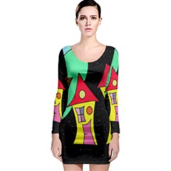 Two houses 2 Long Sleeve Bodycon Dress