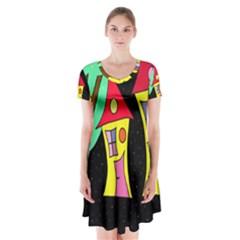 Two Houses 2 Short Sleeve V Neck Flare Dress