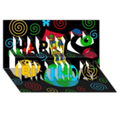 Playful universe Happy Birthday 3D Greeting Card (8x4)