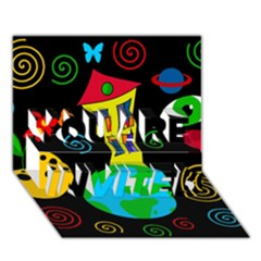 Playful universe YOU ARE INVITED 3D Greeting Card (7x5)