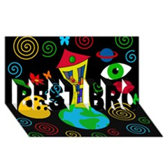 Playful universe BEST BRO 3D Greeting Card (8x4)