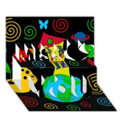 Playful universe Miss You 3D Greeting Card (7x5)