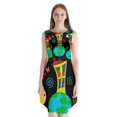 Playful universe Sleeveless Chiffon Dress