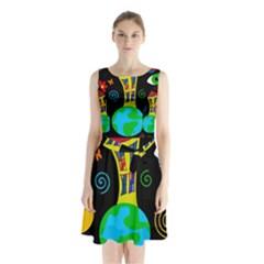 Playful universe Sleeveless Chiffon Waist Tie Dress