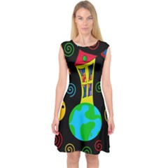 Playful Universe Capsleeve Midi Dress